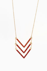 Gold Red Beaded Chevron Necklace/Earring Set