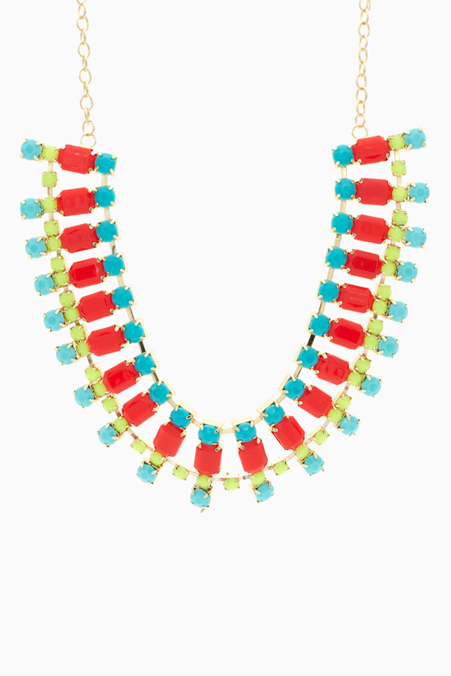 Neon Multi-Colored Jewel Bib Necklace/Earring Set