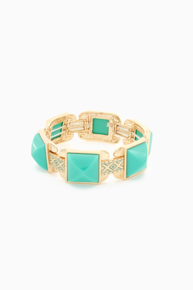 Aqua Gold Tribal Spike Bracelet