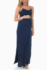 Navy Blue Basic Maternity Maxi Dress