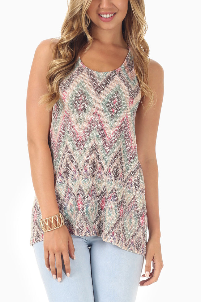 Taupe Multi-Colored Chevron Printed Knit Tank Top