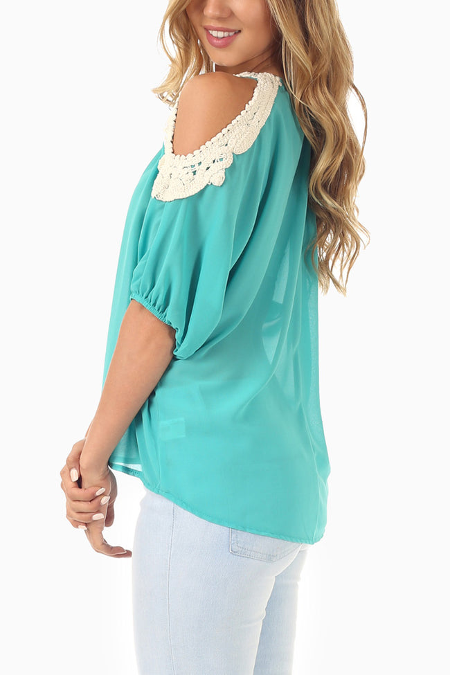 Aqua Chiffon Crochet Accent Open Shoulder Blouse