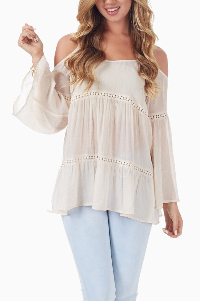 Beige Crochet Accent Open Shoulder Bohemian Top