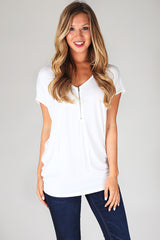 White Oversized Zipper Front Top