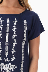 Navy Blue White Embroidered Accent Blouse