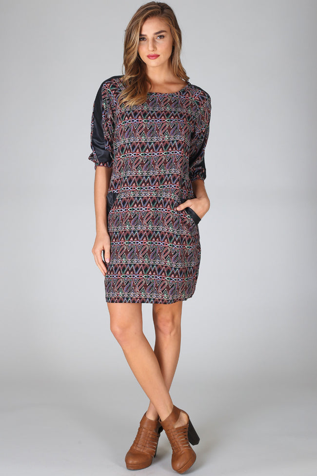 Black Multi-Colored Paisley Tribal Printed Leather Accent Dress