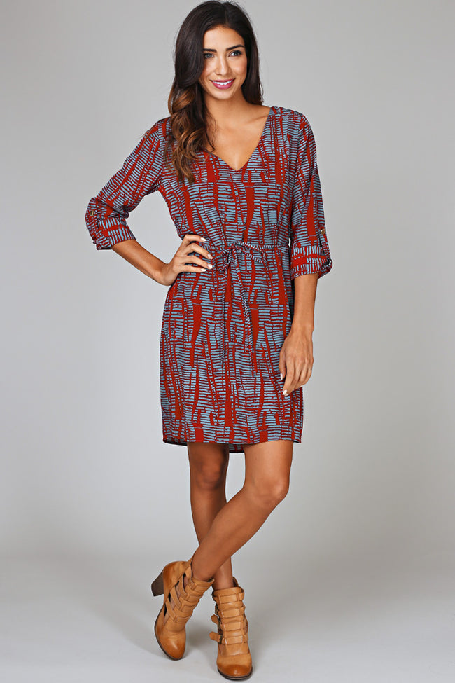 Burgundy Blue Printed 3/4 Sleeve Dress