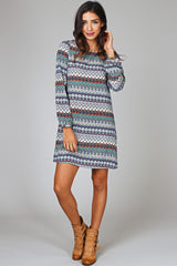 Teal Multi-Colored Print Dress