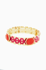 Orange Fuchsia Gold Tribal Bracelet