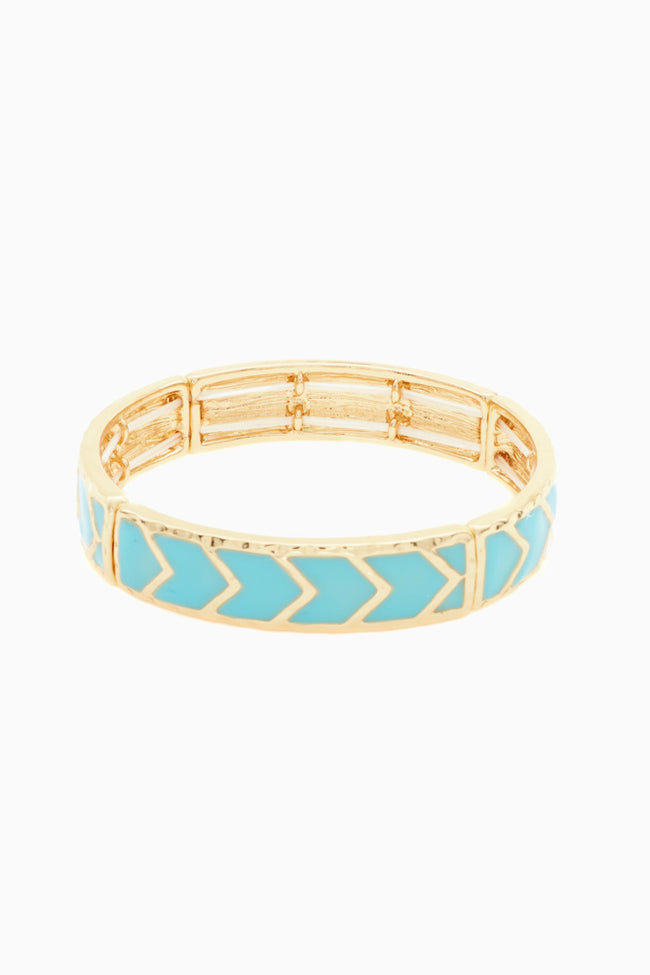 Light Blue Chevron Enamel Bracelet