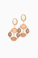 Pink Beige White Stone Jewel Chandelier Drop Earrings