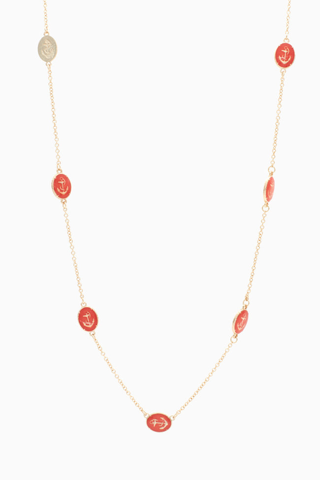 Gold Red Anchor Chain Necklace