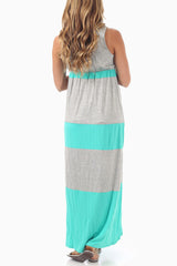 Mint Green Grey Colorblock Maternity Maxi Dress