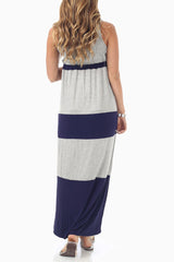 Navy Blue Grey Colorblock Maternity Maxi Dress