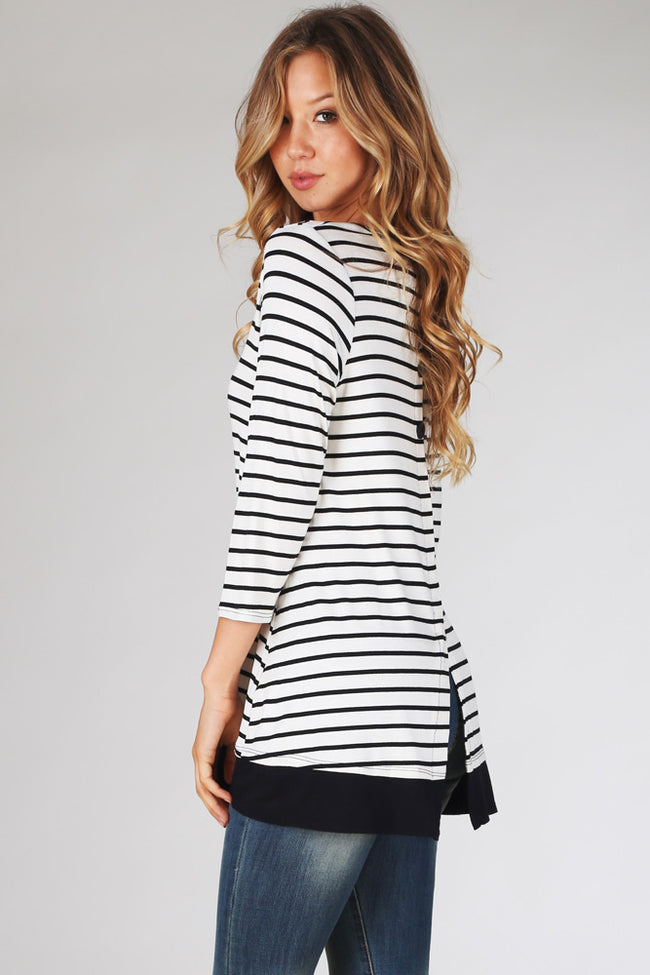 White Black Striped Button Back 3/4 Sleeve Top