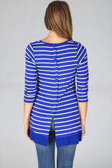 Royal Blue White Striped Button Back 3/4 Sleeve Top