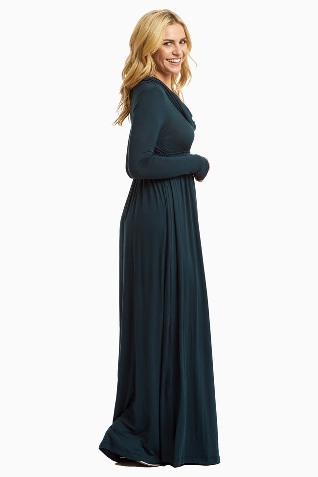 Forest Green Cowl Neck Long Sleeve Maxi Dress