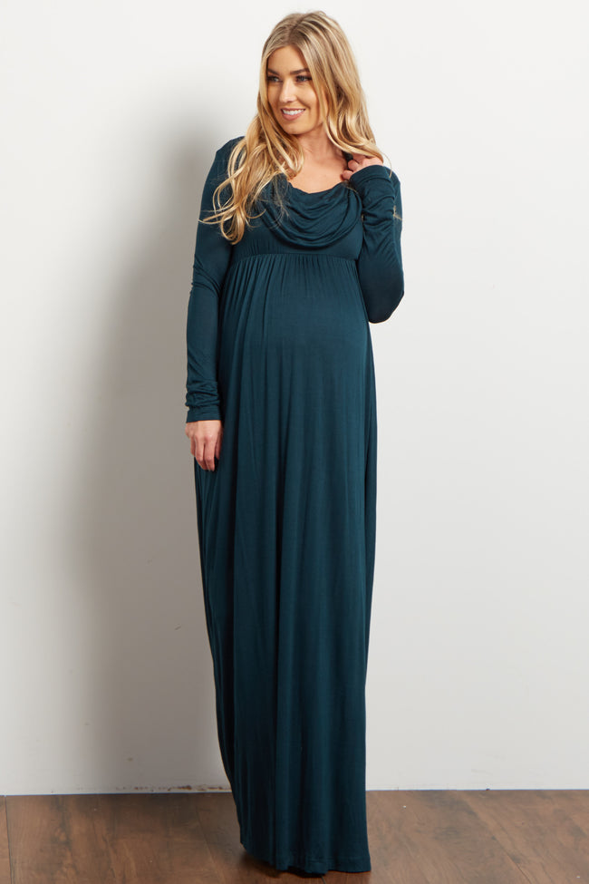 Forest Green Cowl Neck Long Sleeve Maternity Maxi Dress