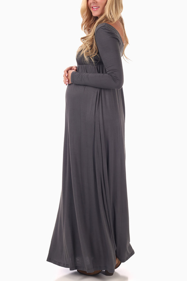 Grey Long Sleeve Maternity Maxi Dress