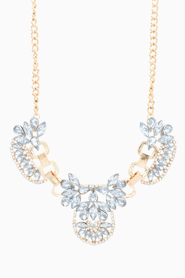 Gold Rhinestone Bib Necklace/Earring Set