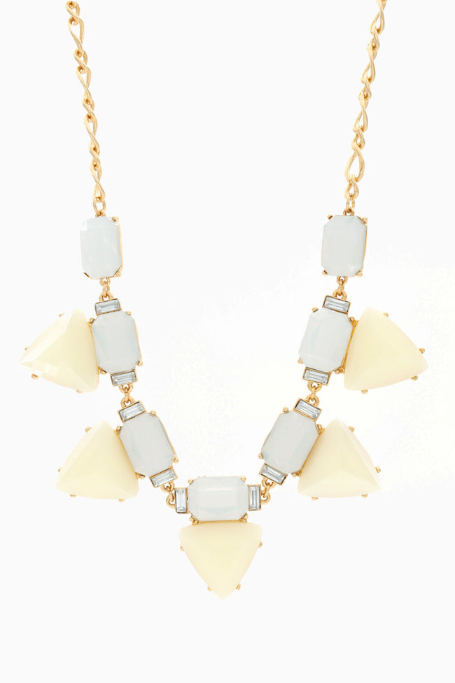 Light Blue Yellow Triangle Stone Necklace/Earring Set