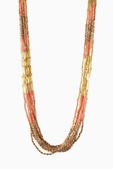 Light Pink Gold Beaded Long Necklace