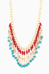 Turquoise Red Gold Fringe Necklace/Earring Set