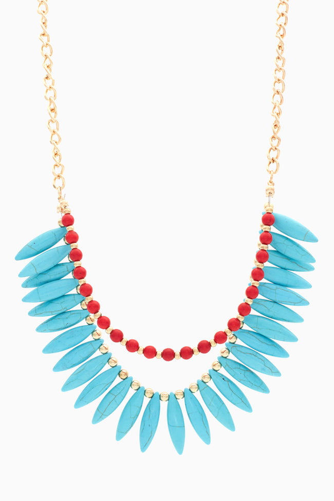 Turquoise Red Tribal Layered Bead Necklace/Earring Set