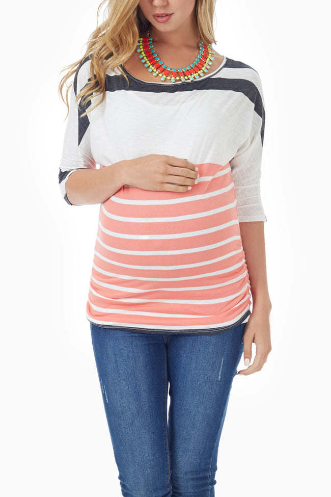 Coral Grey White Striped Dolman Sleeve Maternity Top