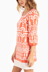 Coral White Printed 3/4 Sleeve Zipper Back Dress
