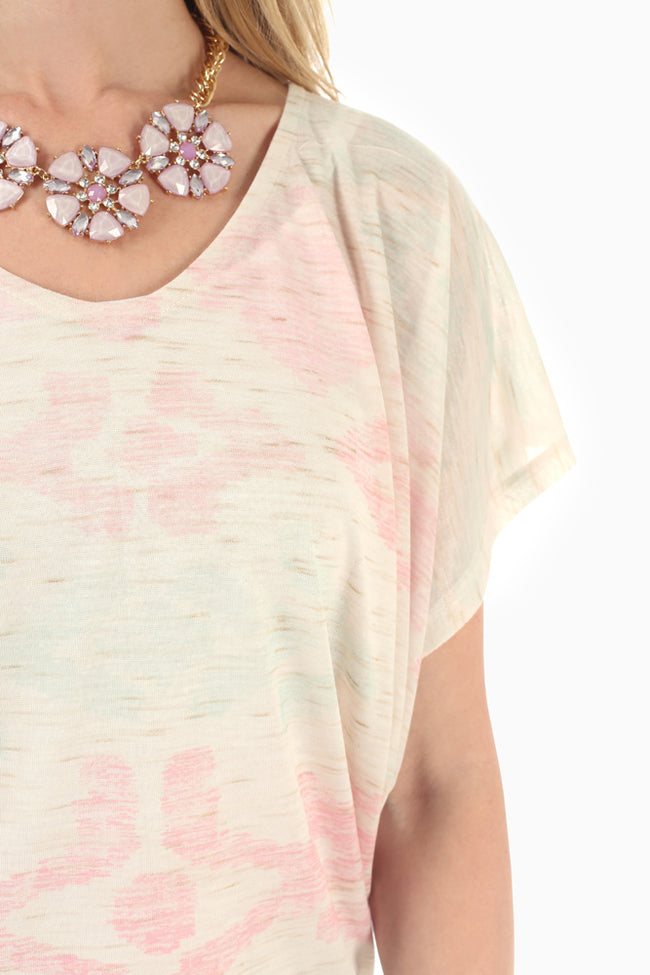 Ivory Mint Pink Printed Shirt