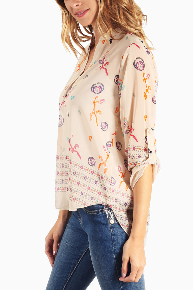 Taupe Printed 3/4 Sleeve Sheer Chiffon Blouse