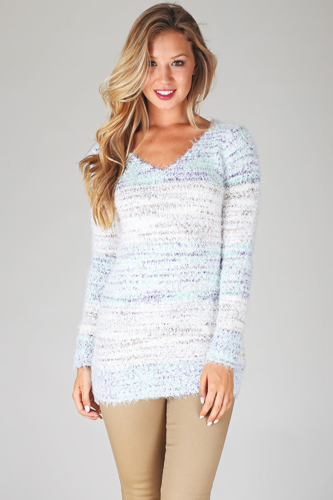 White Green Multi-Colored Striped Fuzzy Knit Sweater