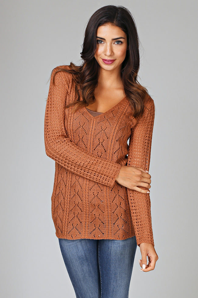 Rust Knit V-Neck Sweater