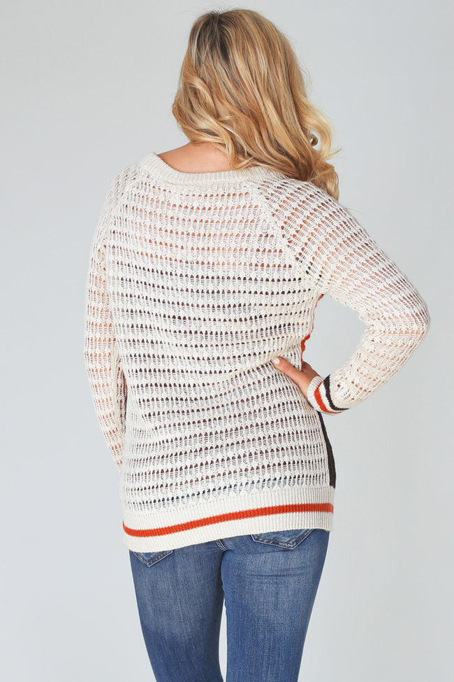 Beige Multi-Colored Colorblock Knit Sweater