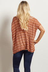 Rust White Wave Print Knit Maternity Top
