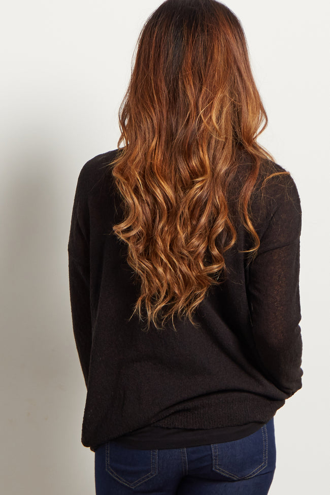 Black Basic Knit Maternity Sweater Top