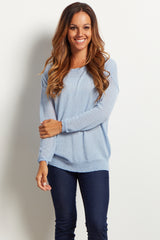 Light Blue Basic Knit Sweater Top