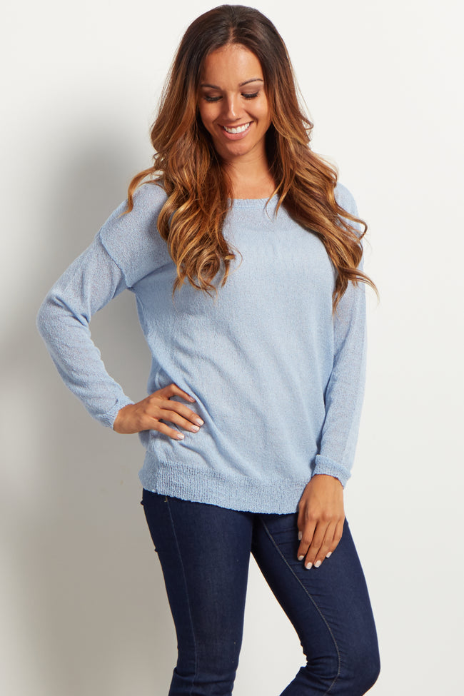 Light Blue Basic Knit Maternity Sweater Top