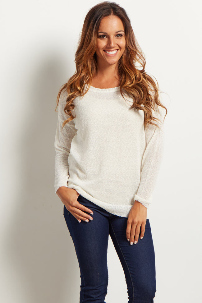White Basic Knit Maternity Sweater Top
