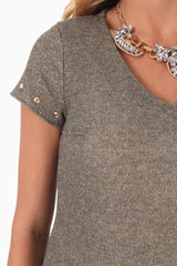 Olive Green Studded Sleeve Maternity Tunic