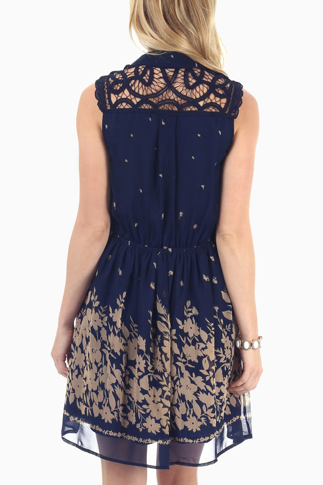 Navy Blue Taupe Printed Crochet Top Dress