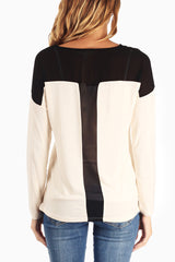 Ivory Black Chiffon Shoulder Blouse