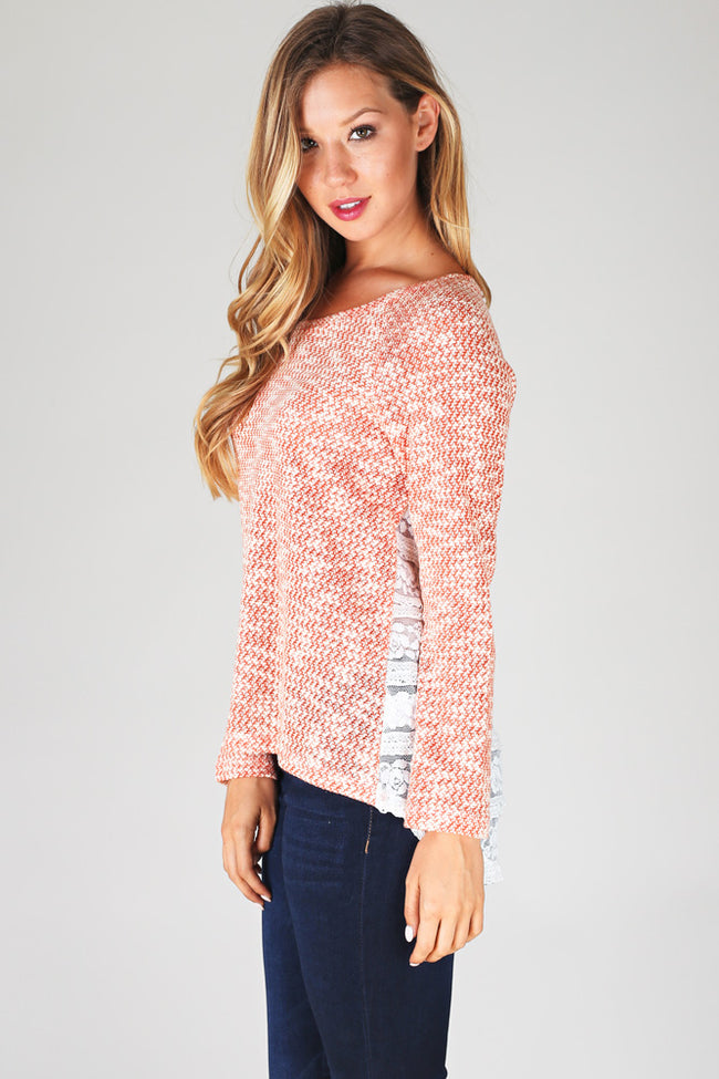 Orange Knit Lace Back Sweater