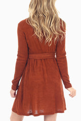 Rust Embroidered Top Knit Dress