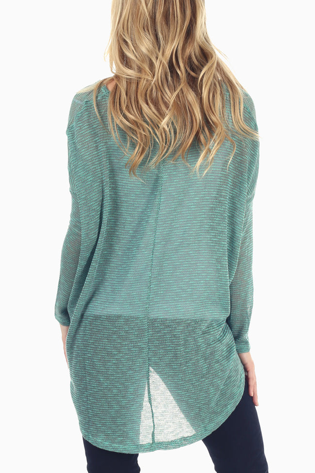 Green Grey Knit Pocket Sweater