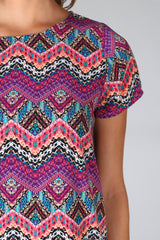 Pink Multi-Colored Chevron Printed Dress