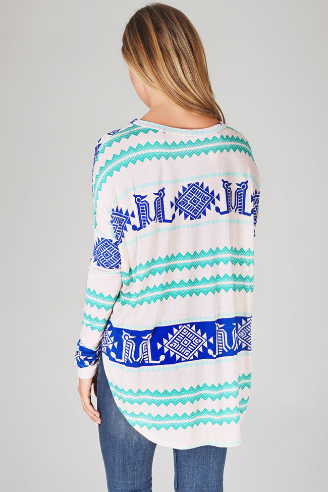 Ivory Green Blue Tribal Printed Long Sleeve Tunic