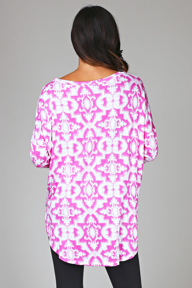 Pink White Printed Long Sleeve Tunic