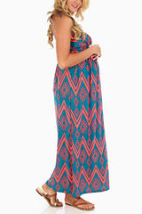 Jade Coral Tribal Printed Strapless Maternity Maxi Dress